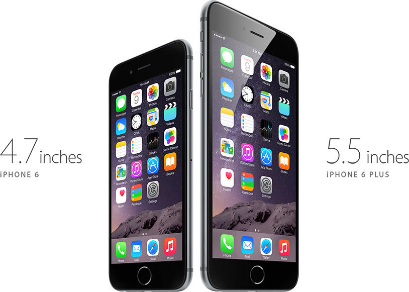 The iPhone 6 is 4.7 inches, and the iPhone 6 Plus is 5.5 inches