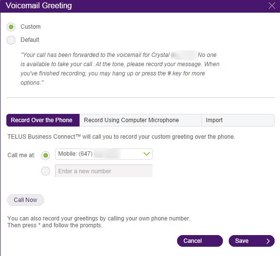 Voicemail customizing user hours help telus business record using your computer microphone this will allow you to record your own greeting using your computers microphone m4hsunfo Choice Image