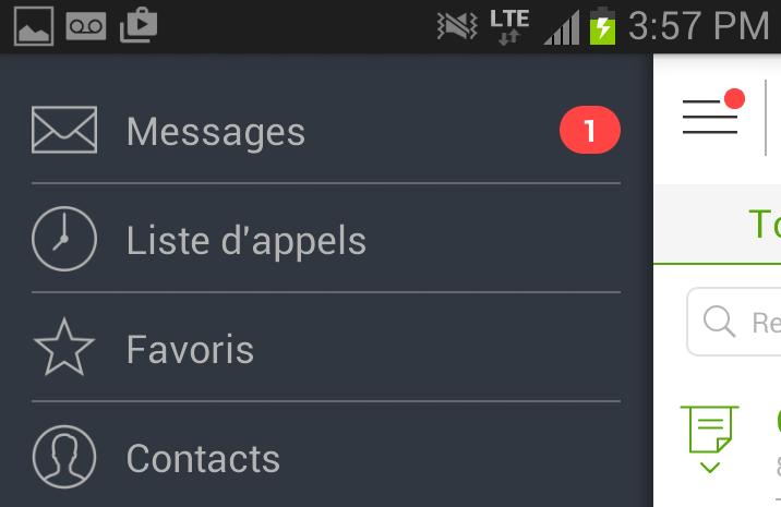 Mobile App Menu-Call
