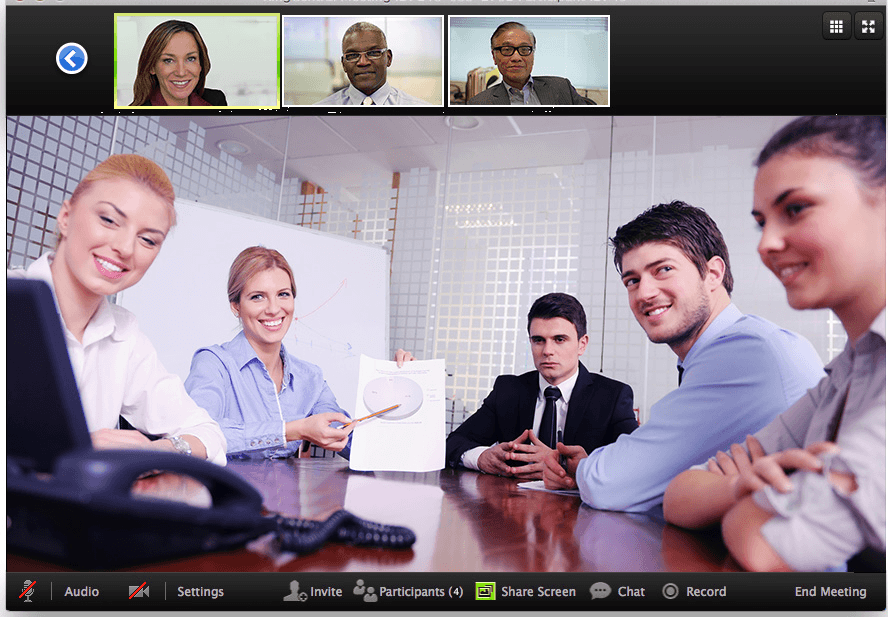 Meeting window on desktop