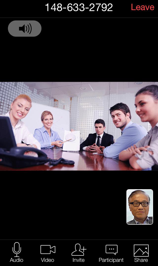 Meeting window on mobile app