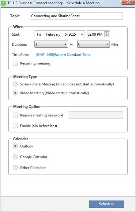 Schedule a Meeting – PC Desktop