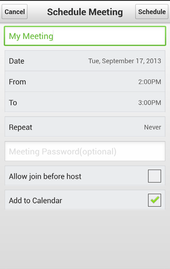 Schedule a Meeting – Android® smartphone