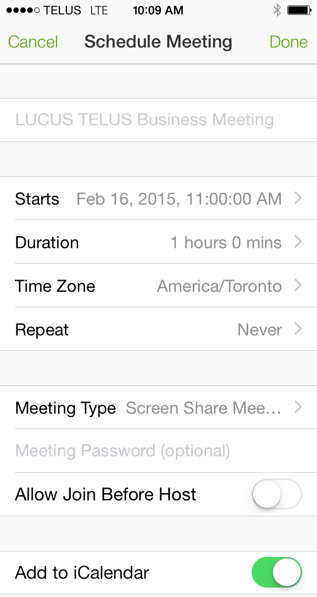 Schedule a Meeting – iPhone