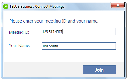 Joining a Meeting Log In screen – PC