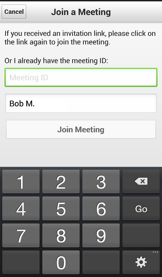 Joining a Meeting Log In screen – Android® smartphone