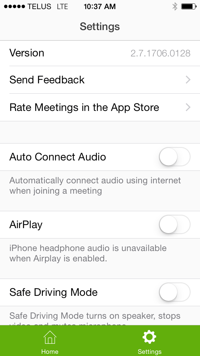 Mobile App Settings