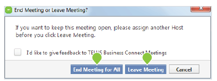 End meeting – PC