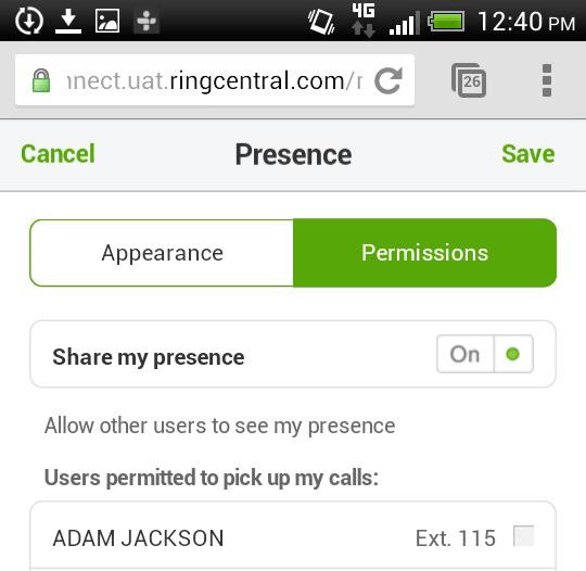Presence Permissions