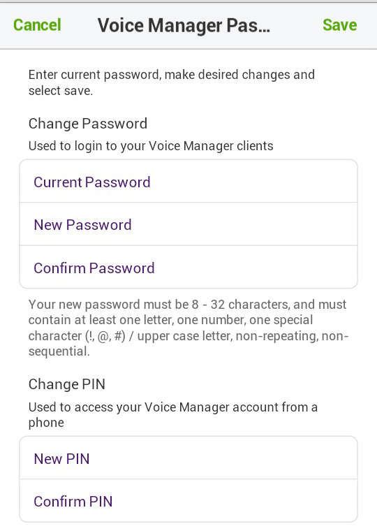 Voice Manager Password