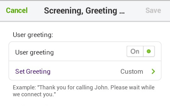 User Greeting