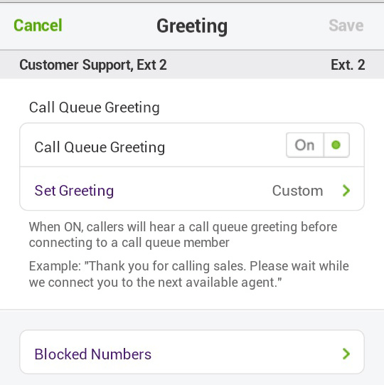 Call Queue Greeting