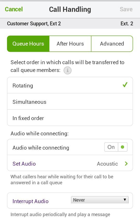 Call Queue Call Handling Hours