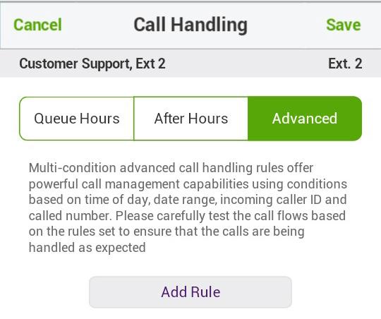 Call Queue Call Handling Advanced