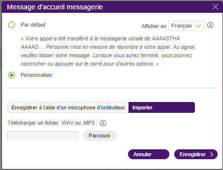 Configurer l'option de messages