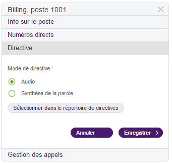 Mode de directive a Audio