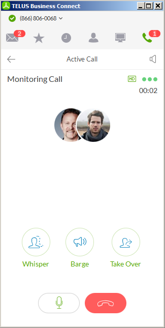 Monitoring a call from TELUS Business Connect for Desktop
