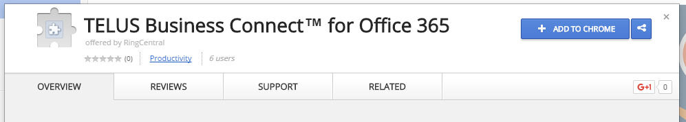 Installing the TELUS Business Connect for Office 365 Chrome Extension