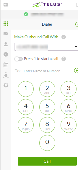 Placing a call with TELUS Business Connect for Office 365
