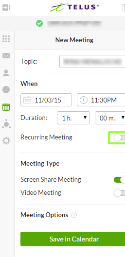 Setting up a TELUS Business Connect Meeting with TELUS Business Connect for Office 365