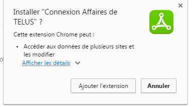 Installer l'extension Chrome Connexion Affaires de TELUS pour Office 365