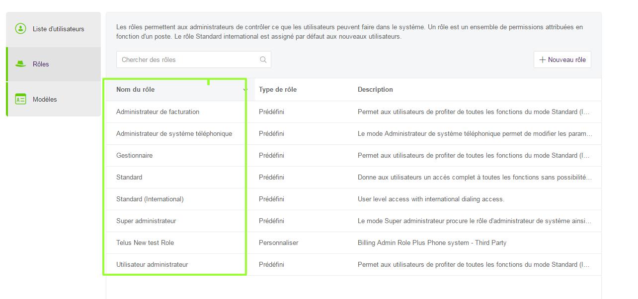 Autorisations et rôles d'utilisateurs