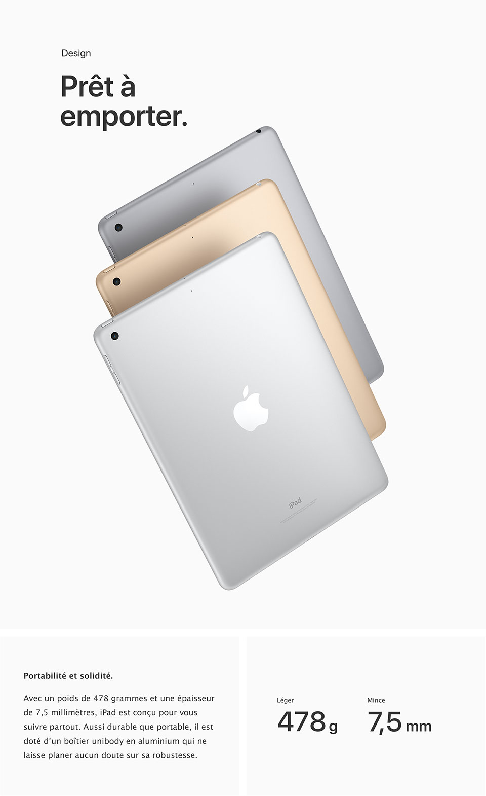 Even though iPad Pro can handle tasks usually reserved for PCs, it's lighter than any PC could hope to be. The 9.7-inch iPad Pro packs heavyweight performance into less than 500 grams. The 12.9-inch iPad Pro is thinner than iPhone 6s and weighs just over 700 grams. And thanks to the aluminum unibody, both sizes feel reassuringly solid in the hand.