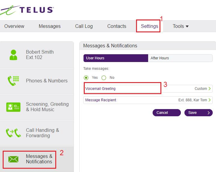 Setting up a custom voicemail greeting on a user extension help note messages notifications appear differently depending on whether the user hours is set to 24 hours or specify hours check setting a users hours of m4hsunfo